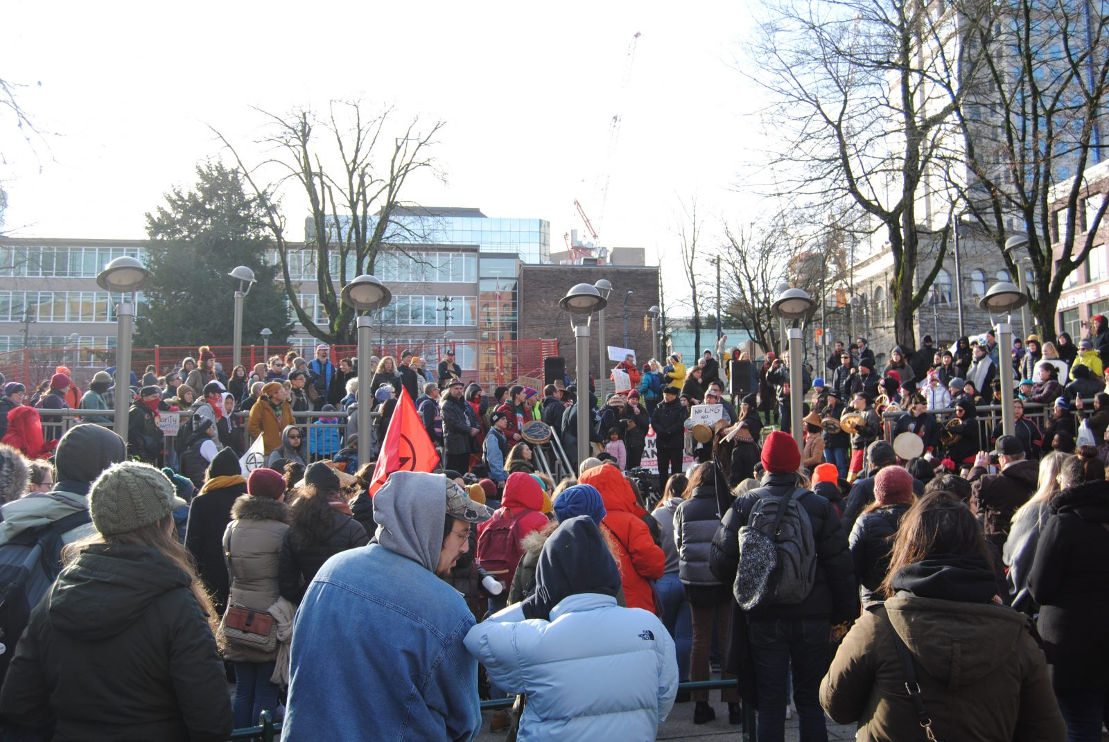 Photo: An anti-Coastal GasLink pipeline protest and solidarity with Wet'suwet'en rally takes place in Victory Square in Vancouver, BC, on January 11, 2020. By Laurel Scott.